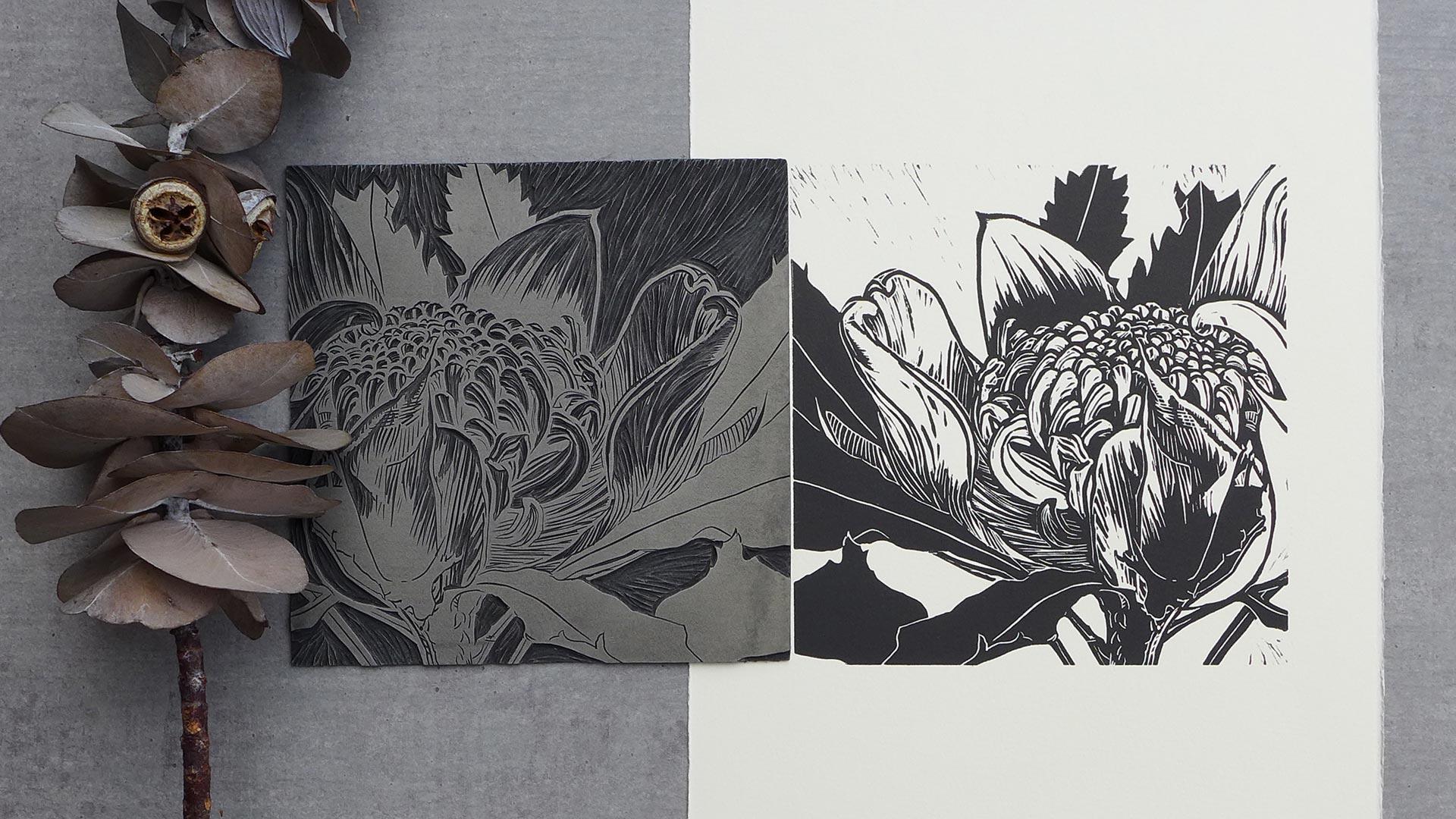 Waratah hand carved lino block and print